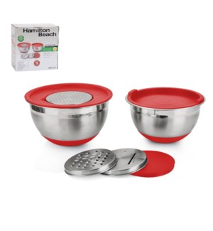 Hamilton Beach Mixing Bowl 2pc Set SS 7in,8in with PE Lid an 643700278685