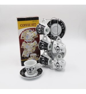6PCS COFFEE CUPS/SAUCERS WITH STAND                          612234562201