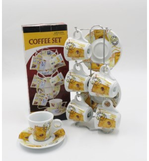 6PCS COFFEE CUPS/SAUCERS WITH STAND                          612234562300