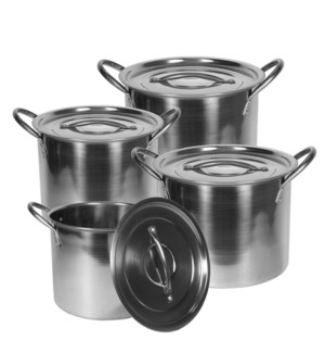 Stock Pot 8pc Set SS, 6.5, 9, 12, 16Qt                       643700144379