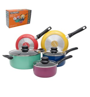 PS 8pc multi color aluminum cookware set, Nonstick interior, 643700234544