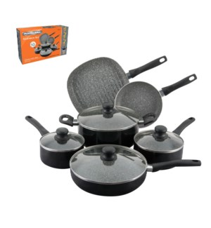 PS 10pc Aluminum Cookware set, black, Spatter Nonstick coati 643700232861