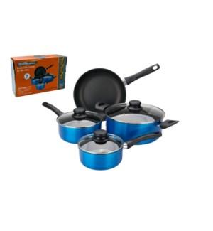 PS 7pc set Aluminum cookware set, Blue Metallic exterior, No 643700235725