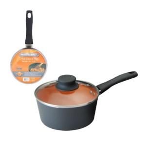 PS Sauce Pan Alum 1.4Qt Whitform Fusion Orange Ceramic Coati 643700273376