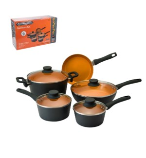 PS Cookware 9pc Set Alum Whitform Fusion Orange Ceramic Coat 643700255440