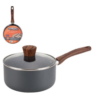 PS Sauce Pan Alum. 3Qt Gray Marble Nonstick Coating,Matt Gra 643700303066