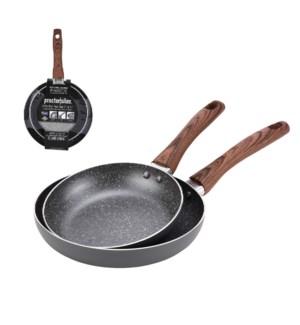 PS Fry Pan 2pc Set Alum. 7in,9in Gray Marble Nonstick Coatin 643700303134