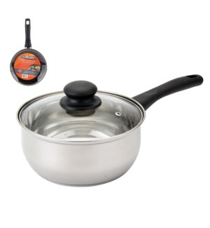 PS Sauce Pan SS 1.5Qt Bakelite Handle with Glass Lid         643700273734