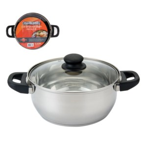 PS Dutch Oven SS 4.5Qt Bakelite Handle with Glass Lid        643700273758