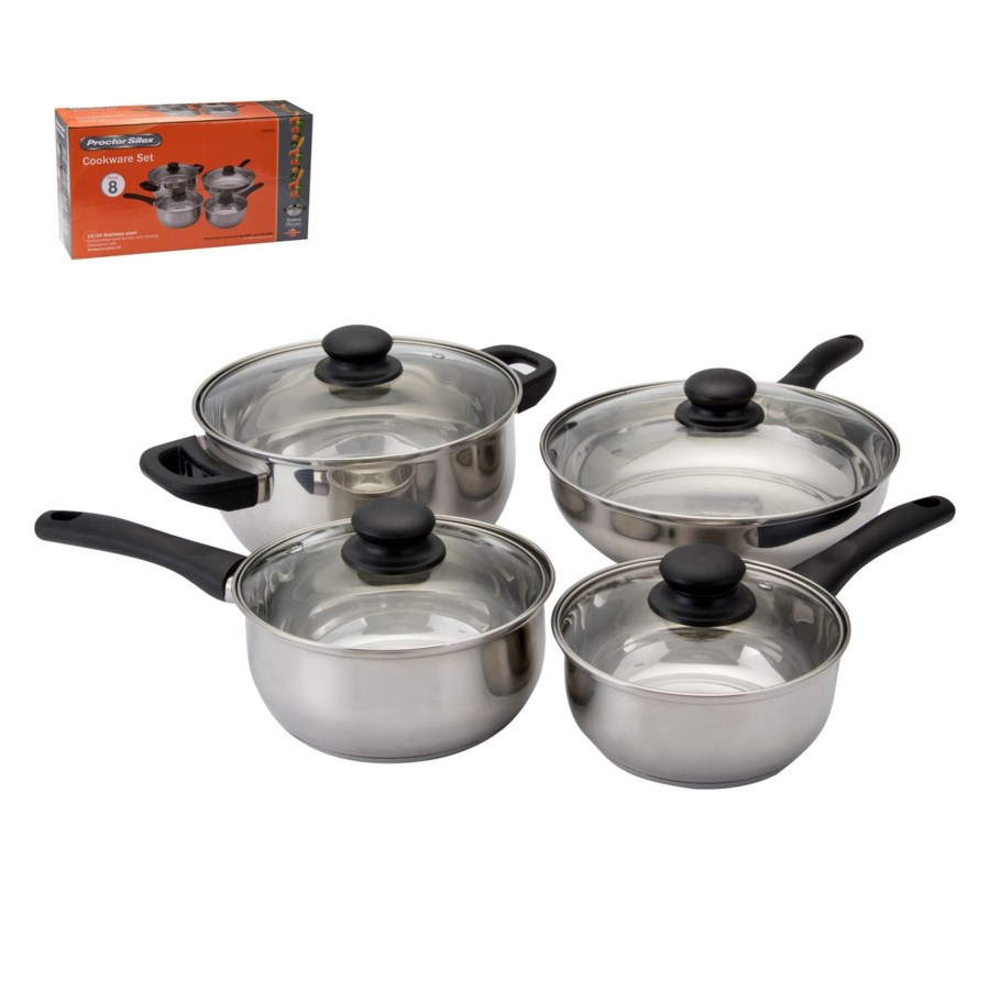 PS Cookware 8pc Set SS Bakelite Handle with Glass Lid Capsul 643700255457
