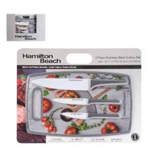 HB Cutlery 4pc Set SS with White Coating Blade, PP Cutting B 643700290199