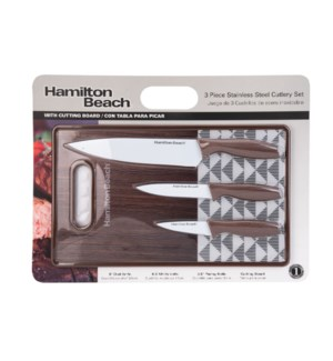 HB Cutlery 4pc Set SS with White Coating Blade, PP Cutting B 643700290212