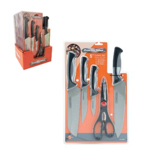 PS Cutlery 5pc Set, Soft touch PP and TPR Handle, 8 Set in P PDA601