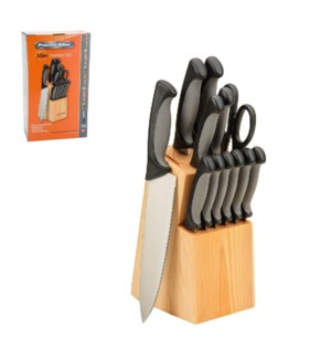 PS 13pc cutlery set with wood Block, 2 tone soft touch Handl 643700215918