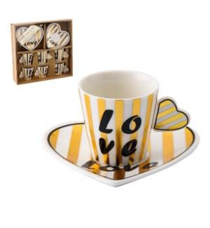Coffee Cup and Saucer 6 by 6, 3Oz Heart Design, New Bone Chi 643700277473