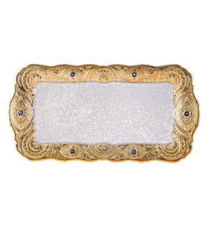 Serving Tray 15x7.5in Rectangular Silver Plated with Blue Ey 643700270535