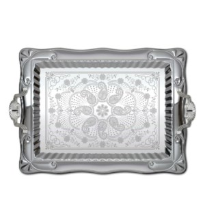 Serving Tray 2pc set 18in and 14.5in Silver Plated Rectangul 643700275790