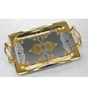 Serving Tray 2pc Set 17.5in and 14in Rectangular Silver Plat 643700293299