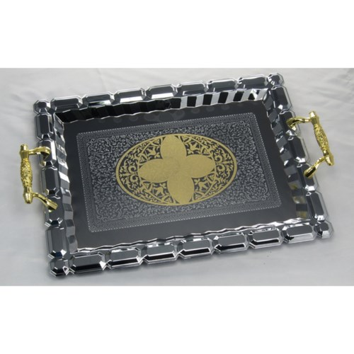 Serving Tray 2pc Set 17in and 14in Rectangular Chrome Plated 643700293312