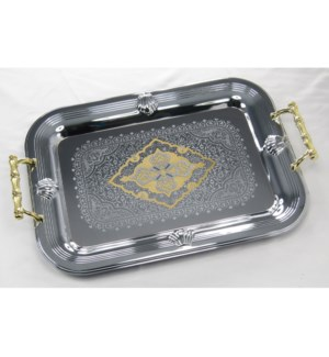Serving Tray 2pc Set 17in and 14in Rectangular Chrome Plated 643700293329