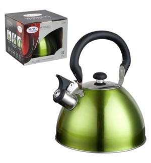 Tea Kettle. 2.5L Whistling. Green, Bakelite handle           643700162922