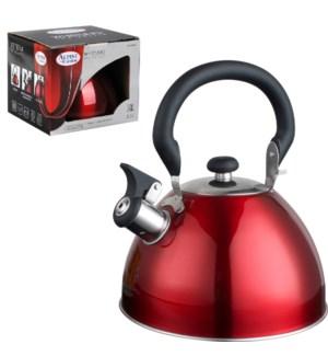 Tea Kettle. 2.5L Whistling. Red, Bakelite handle             643700162908