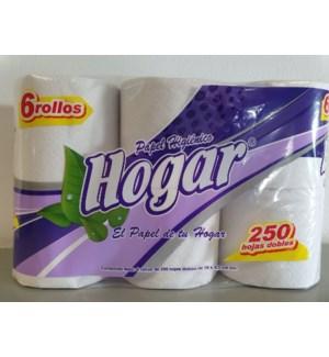 Toilet Paper 250 HD 6 Rolls Package Higienico Hogar          750113670003