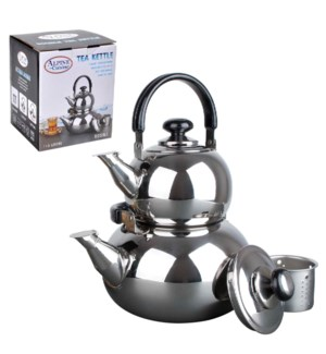 Tea Kettle Double SS 0.8, 3L with strainer                   643700042743