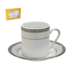 Coffee Cup and Saucer 6 by 6, 2.5Oz, Porcelain, Design no.J1 643700272782