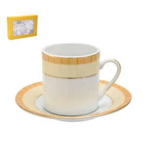 Coffee Cup and Saucer 6 by 6, 2.5Oz, Porcelain, Design no.J1 643700272799