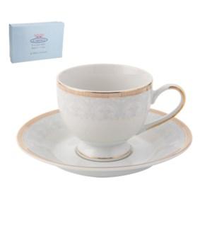 Tea Cup and Saucer 6 by 6, 6.5Oz, Design no.J13 110G         643700286338