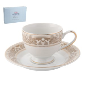 Tea Cup and Saucer 6 by 6, 6.5Oz, Design no.J14 111GH        643700286345