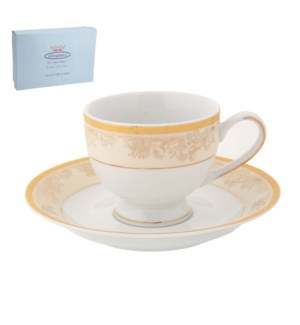 Tea Cup and Saucer 6 by 6, 6.5Oz, Design no.J10 321GL        643700286352