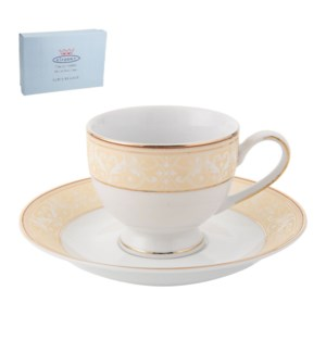 Tea Cup and Saucer 6 by 6, 6.5Oz, Design no.J12 46GL         643700286376