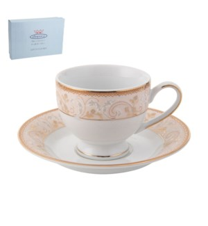 Tea Cup and Saucer 6 by 6, 6.5Oz, Design no.J12 42GL         643700286390