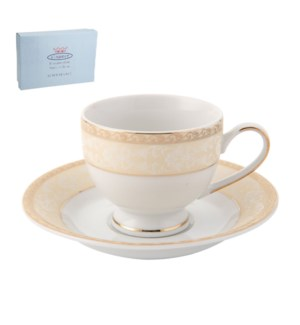Tea Cup and Saucer 6 by 6, 6.5Oz, Design no.J11 80GL         643700286413