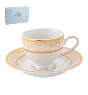 Tea Cup and Saucer 6 by 6, 6.5Oz, Design no.J09 325GL        643700286420