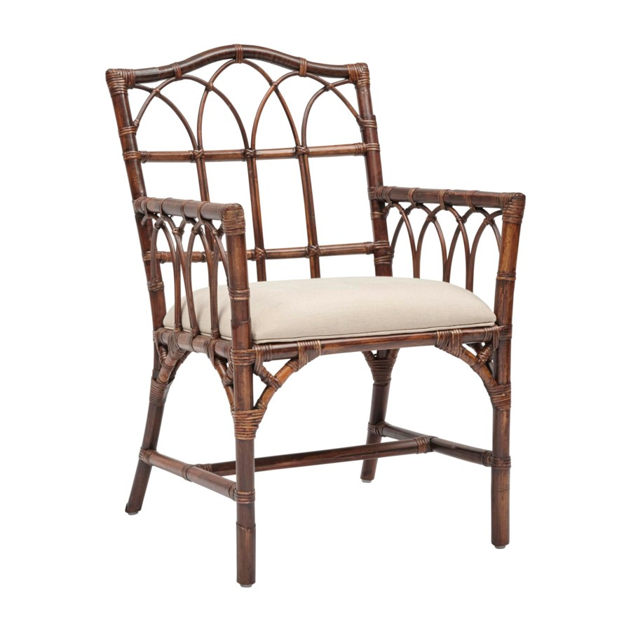 Greenbrier Arm ChairRattan Frame Color - Tobacco Cushion Color - Linen CLOSE-OUT - 50% OFF! SO