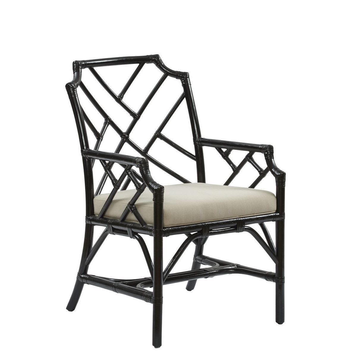 """Palm Beach Chippendale Arm Chair Unpainted - """"Select Your Color"""" Cushion Color: CreamRattan Frame"""
