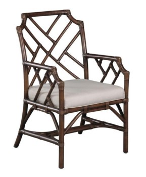 Palm Beach Chippendale Arm ChairFrame Color - MahoganyCushion Color - Linen