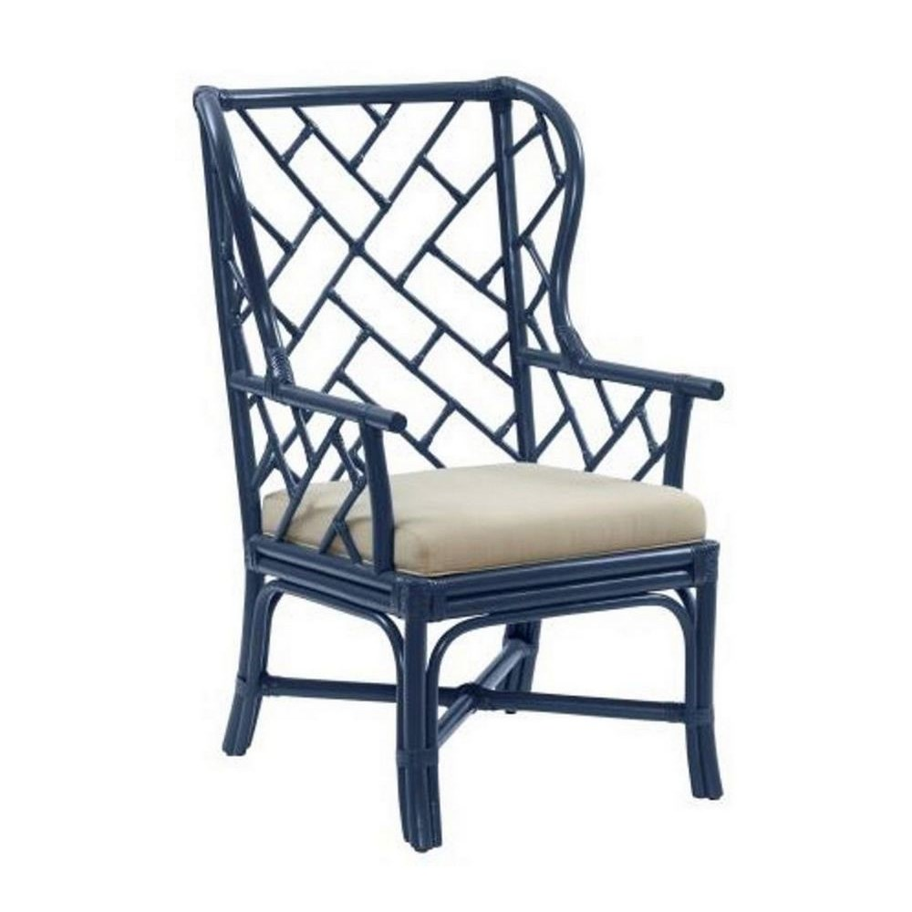 """Palm Beach Chippendale Wing Chair Unpainted - """"Select Your Color"""" Rattan Frame with Leather Wraps"""