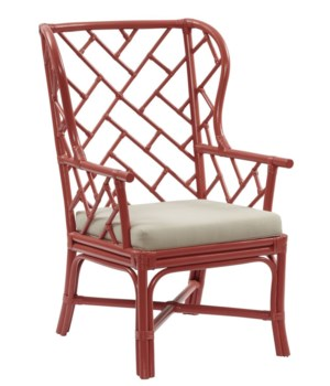 "Palm Beach Chippendale Wing Chair Unpainted - ""Select Your Color"" Rattan Frame with Leather Wraps"