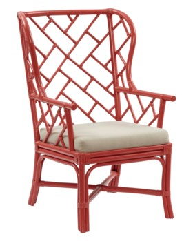 Palm Beach Chippendale Wing Chair Frame to be Painted, Cushion Linen, Pack 1 Re-shipper