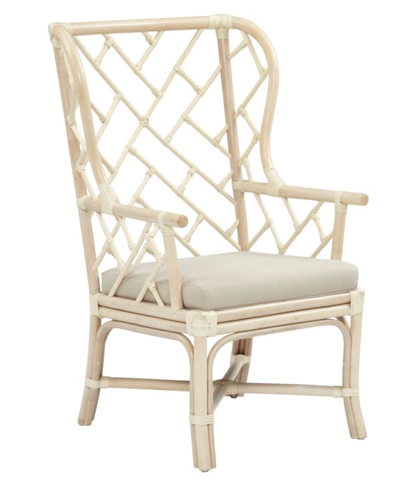 Palm Beach Chippendale Wing Chair Frame Color - Linen Cushion Color - Linen  CLOSE-OUT - 50% OFF