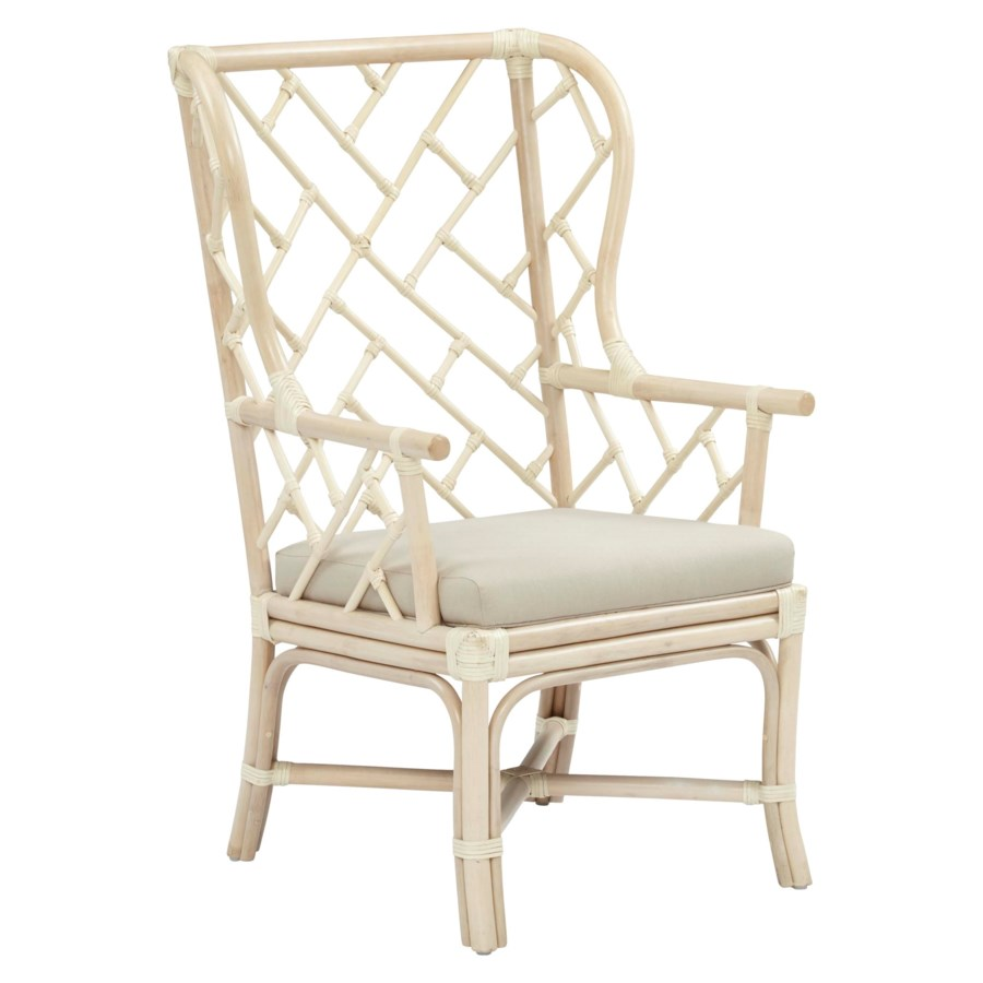 CLOSE-OUT - Buy1Get1 Free! Palm Beach Chippendale Wing Chair Frame Color - Linen Cushion Color -