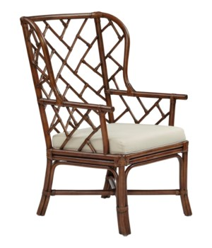 CLOSE-OUT - 25% OFF!Palm Beach Chippendale Wing ChairFrame Color - MahoganyCushion Color - Linen