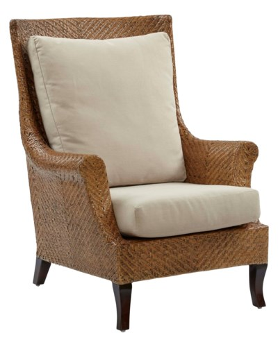 Addison Wing Chair,Frame Color - ChestnutCushion Color - Linen