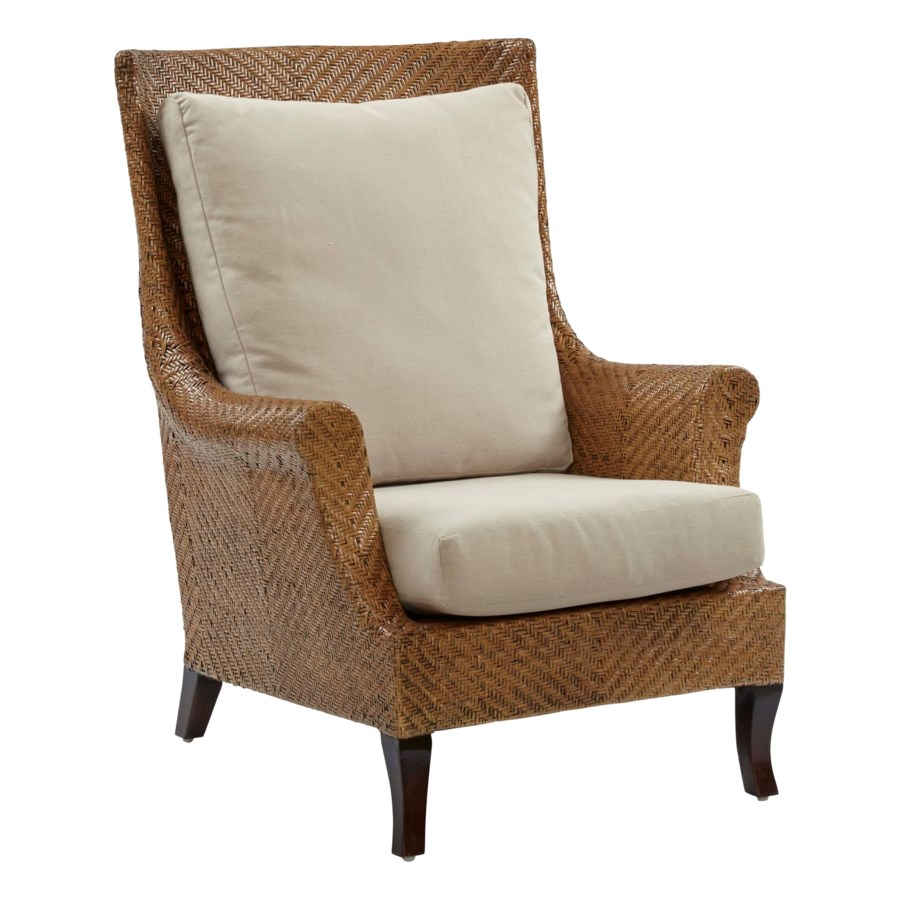 Addison Wing Chair Frame Color - Chestnut Cushion Color - Linen