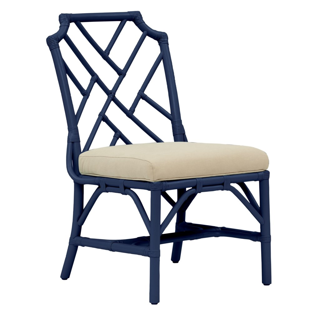 """Palm Beach Chippendale Side Chair Unpainted - """"Select Your Color"""" Cushion Color: Cream Rattan Fram"""