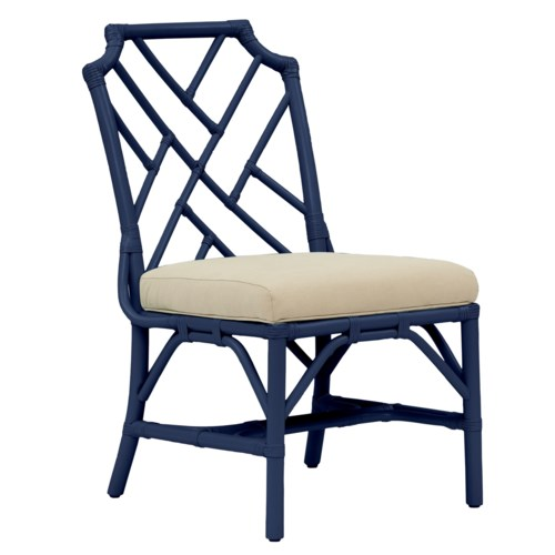 "Palm Beach Chippendale Side Chair Unpainted - ""Select Your Color"" Cushion Color: Cream Rattan Fram"